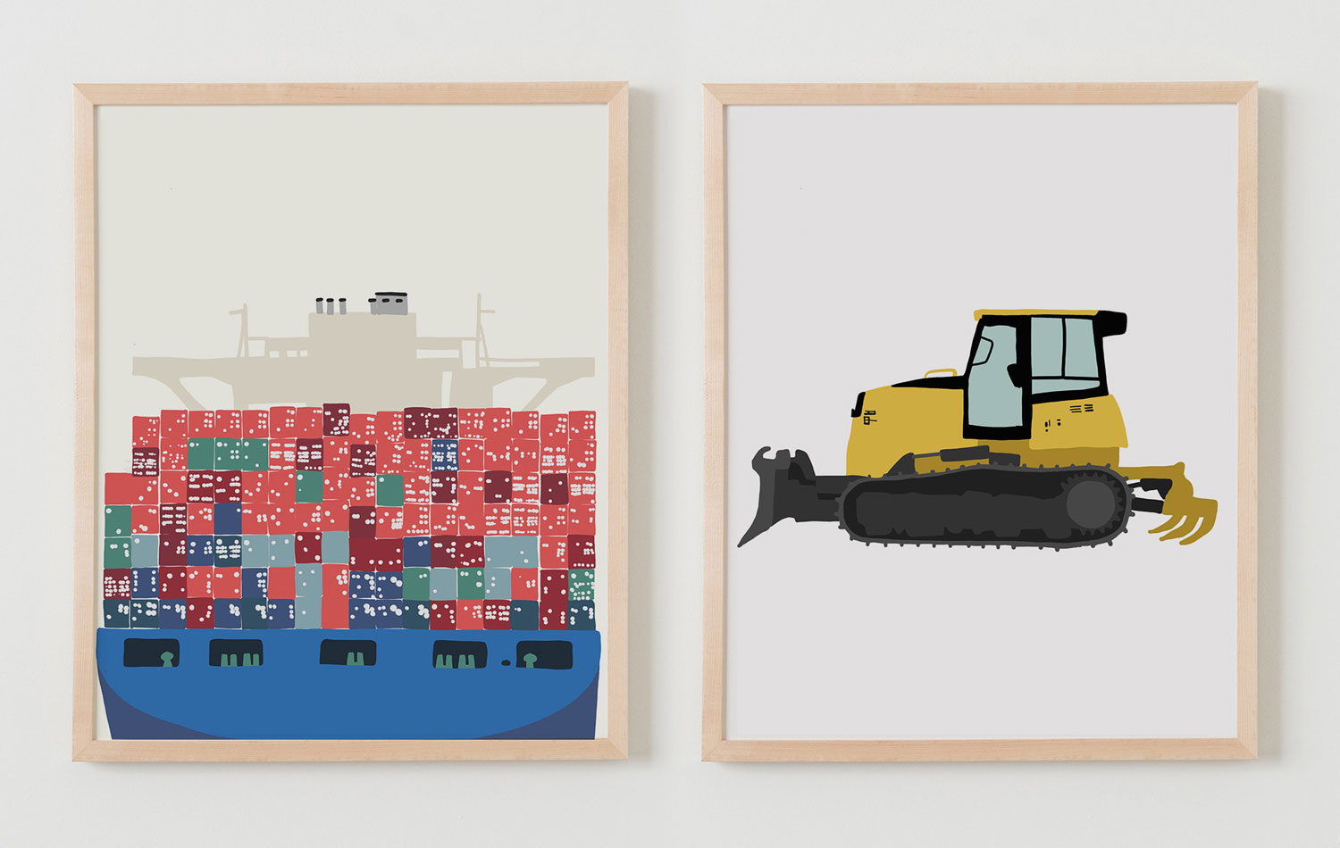 Shipping container and digger artwork by Jorey Hurley