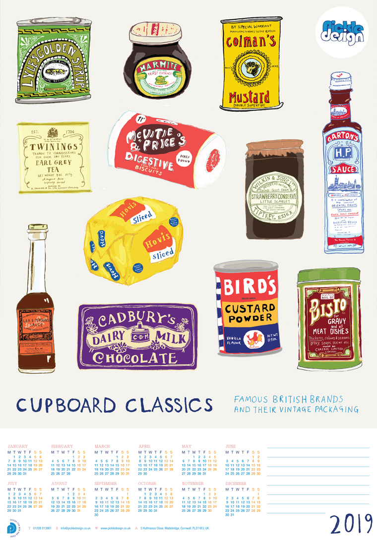 British vintage food packaging poster calendar