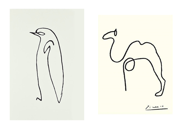 Picasso's line drawings of the Penguin and Camel
