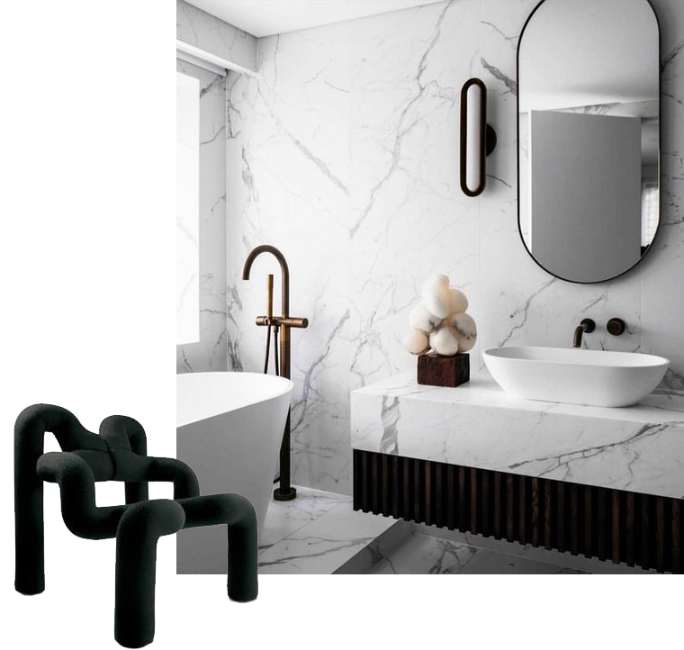 Black Ekstrem chair with marble bathroom