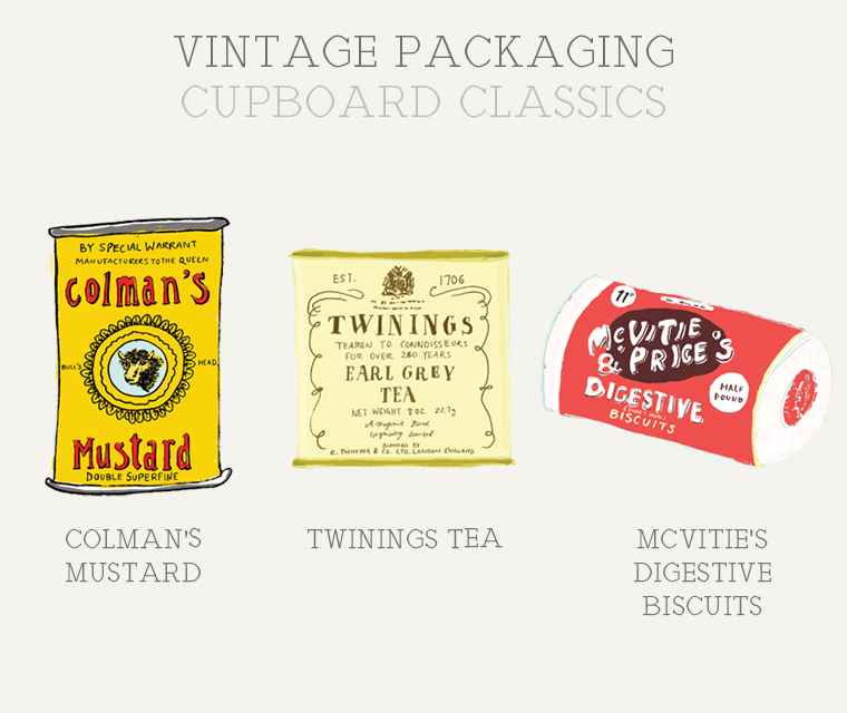 Colman's Mustard, Twinings Tea and McVitie's Digestives vintage packaging
