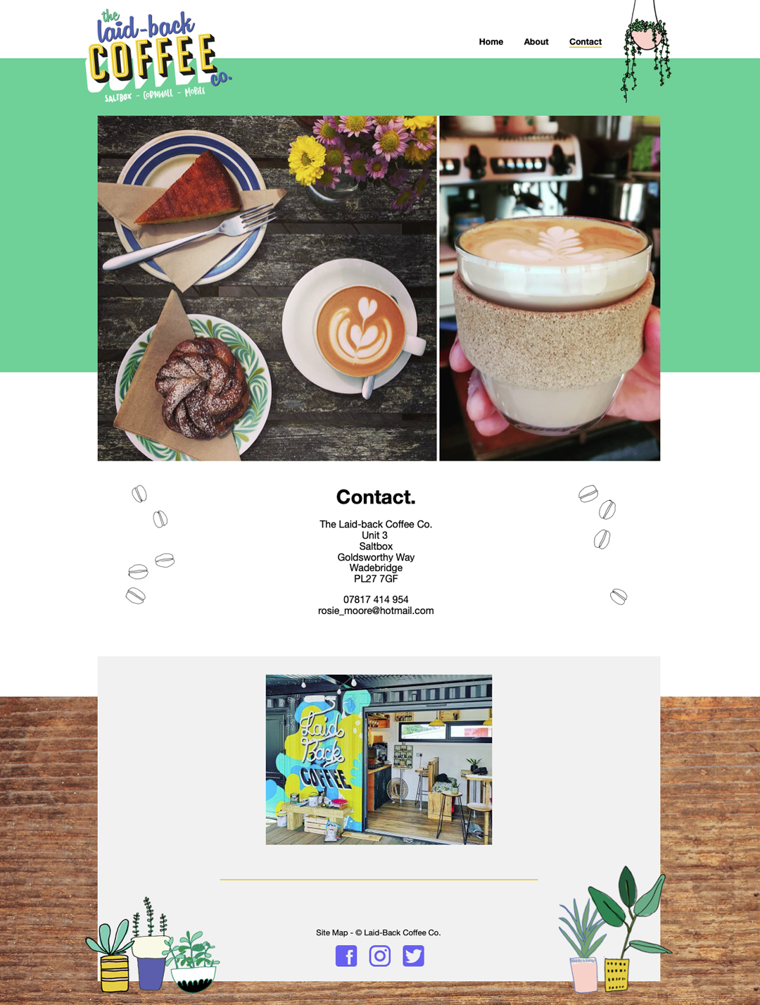 Laid Back Coffee contact page from the website Pickle Design created