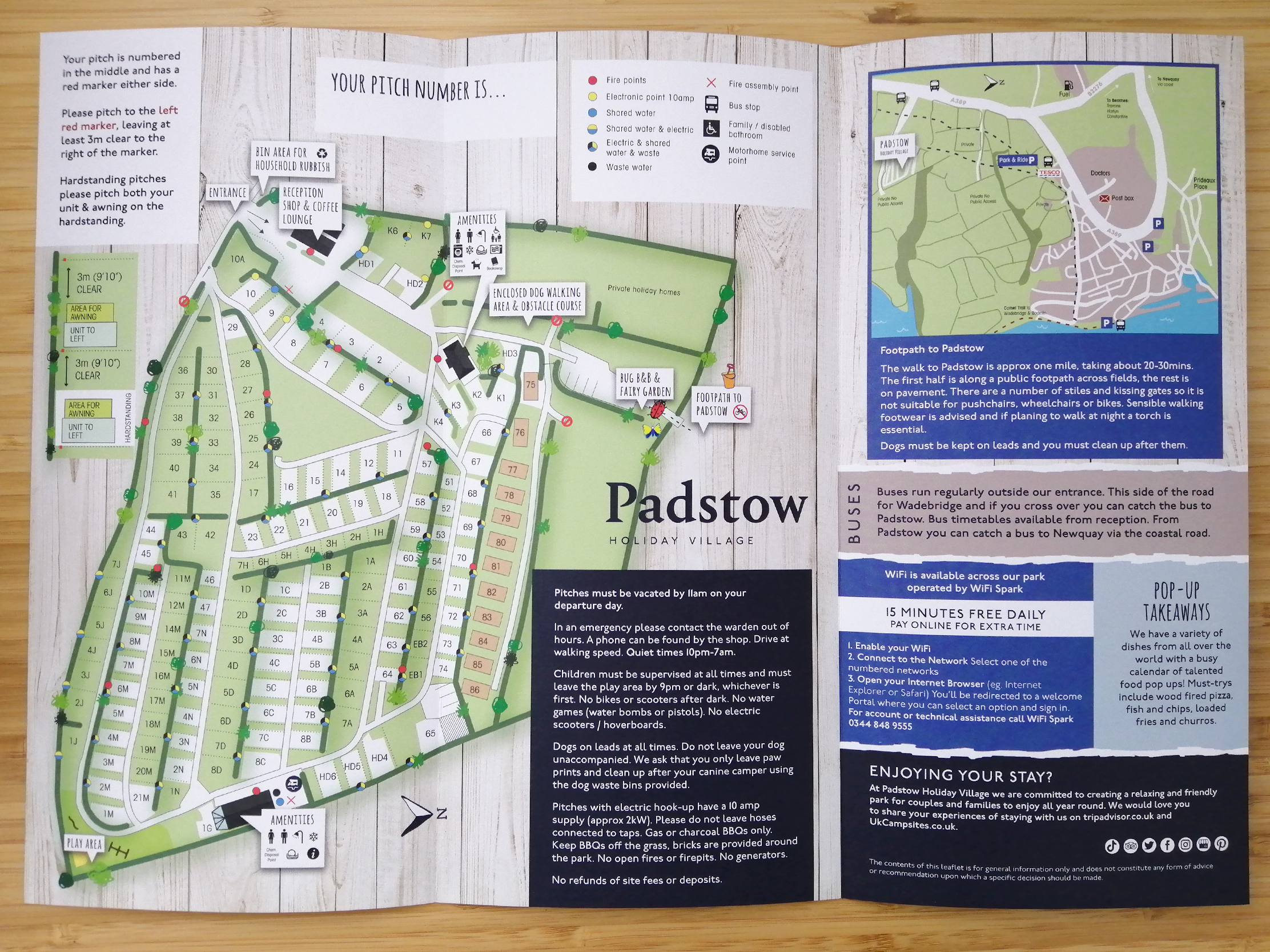 Padstow Holiday Village Map Welcome Leaflet inside