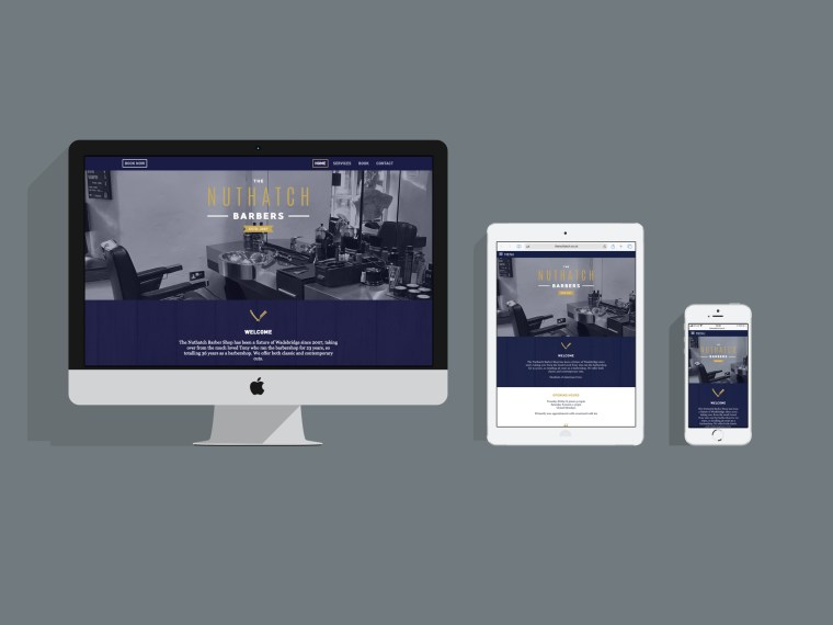 The Nuthatch Barbers website by Pickle Design