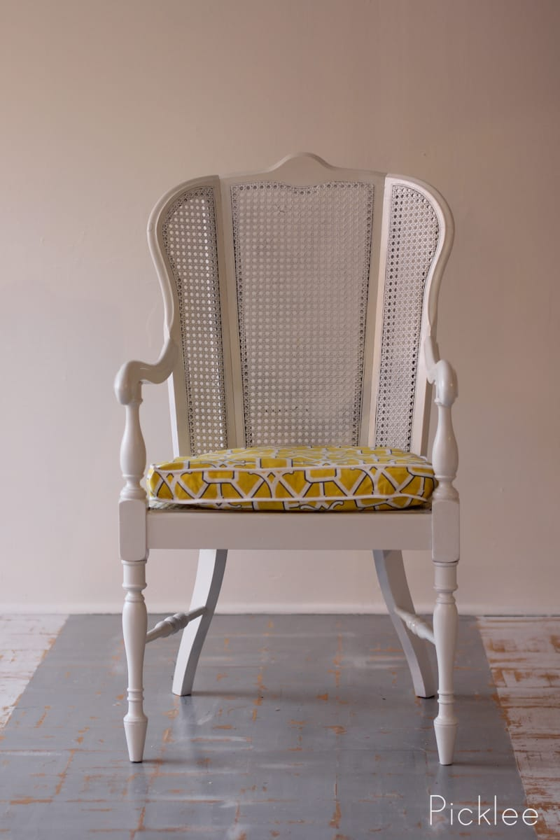 Coastal White Cane Chair Revival before  after  Picklee