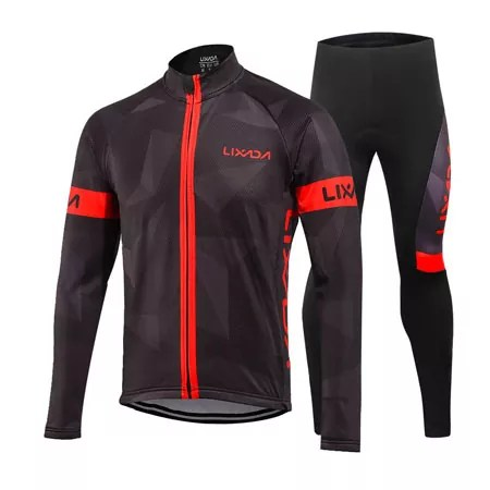 Lixada Winter Thermal Fleece Cycling Jersey Suit for Men