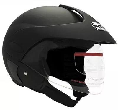 MMG Motorcycle Open Face Helmet with Flip Up Clear VisorDOT Street Legal – Matte Black 203 (Medium)