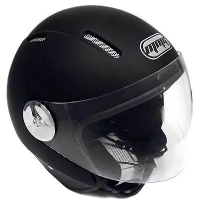 Motorcycle Scooter PILOT DOT Open Face Helmet – Matte Finish Black LARGE