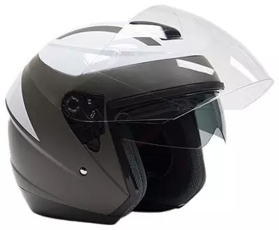 Typhoon 3/4 Helmet with Face Shield and Tinted Sunshield DOT Motorcycle Scooter Moped Cruiser Helmet.