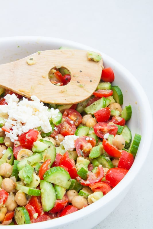 chickpea tomato feta salad
