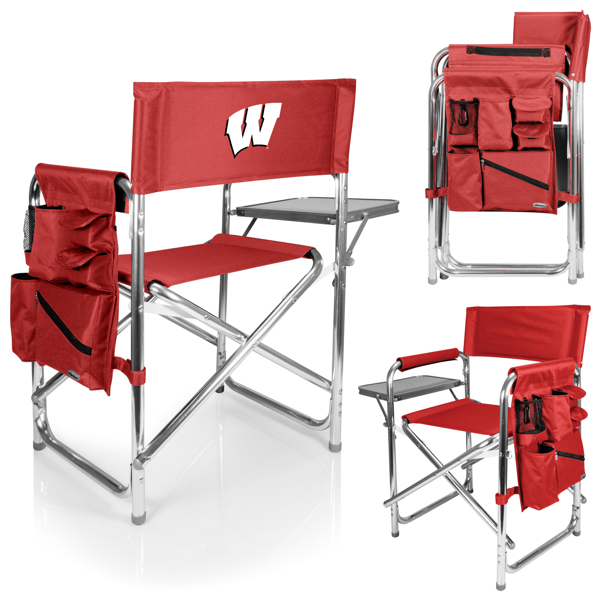 folding chair embroidered fishing bed mattress sports red university of wisconsin badgers picnic time family brands