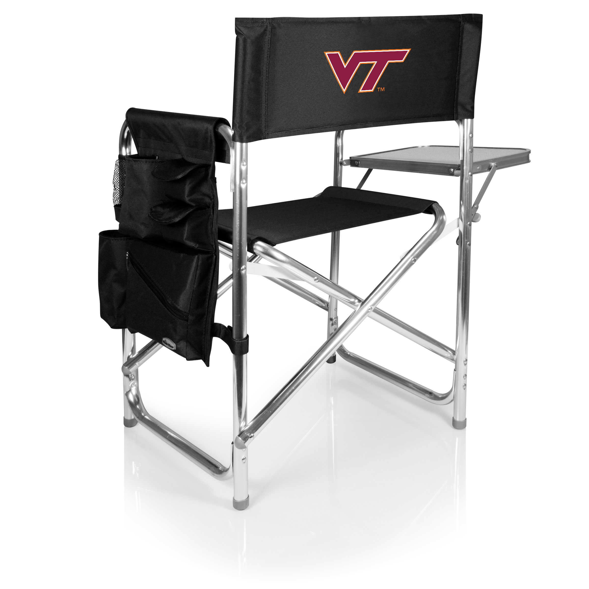 folding chair embroidered reclining office with ottoman sports black virginia tech picnic