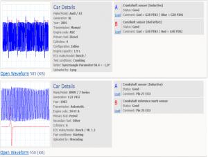 Crankshaft position sensor inductive, referenced, voltage during cranking