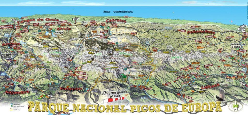 Mapa panorámico de los Picos de Europa