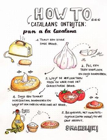 Catalaans ontbijten met pan a la catalana of pan con tomate: een heerlijk broodje met look, tomaat, grof zeezout en olie.