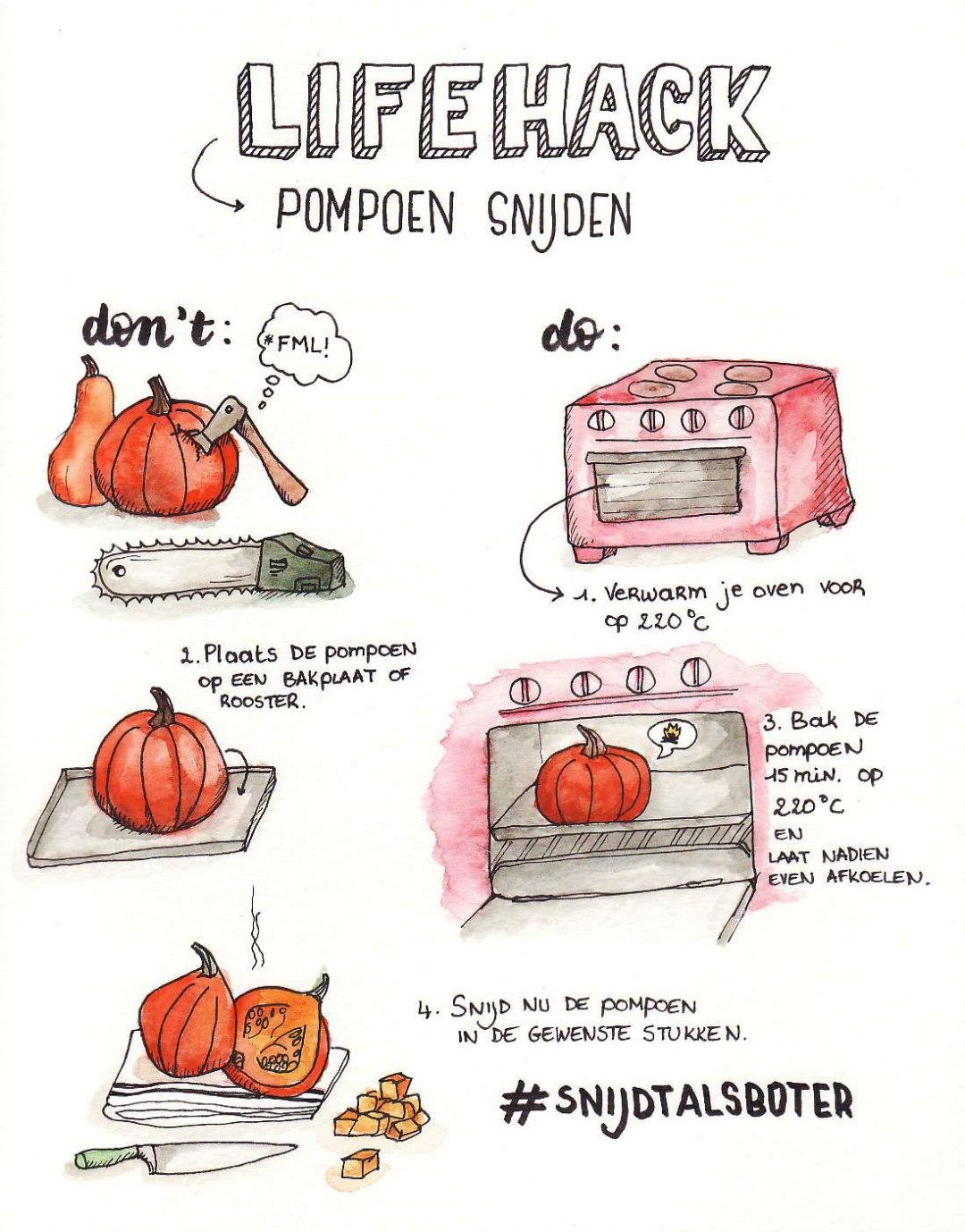 Lifehack om eenvoudig je pompoen te versnijden