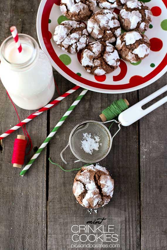 Mint Crinkle Cookies