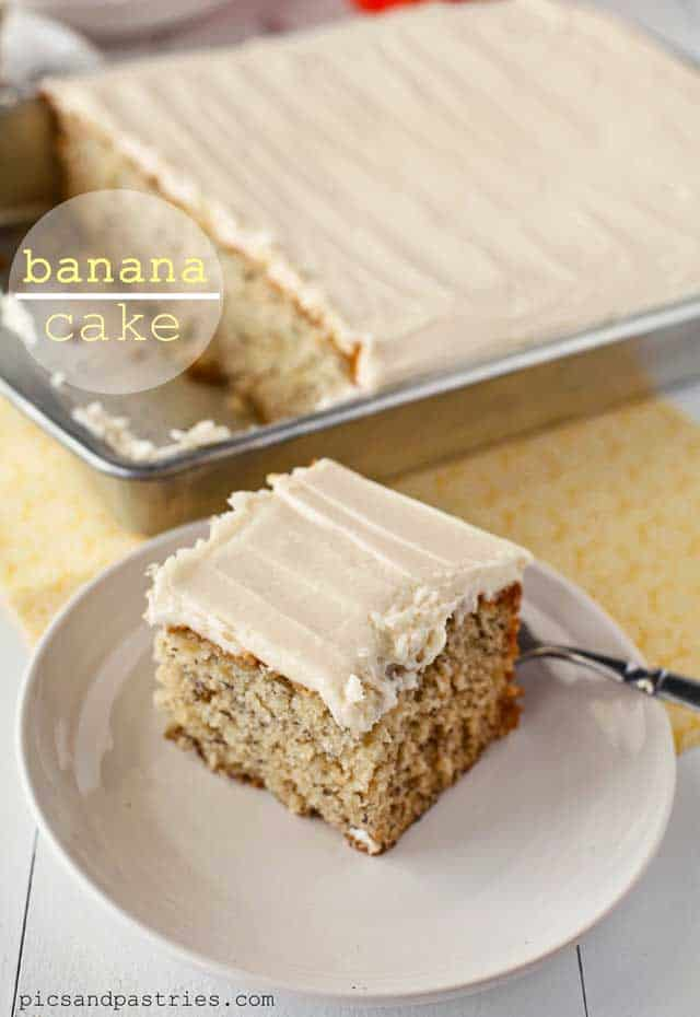 A slice of banana cake on a white plate