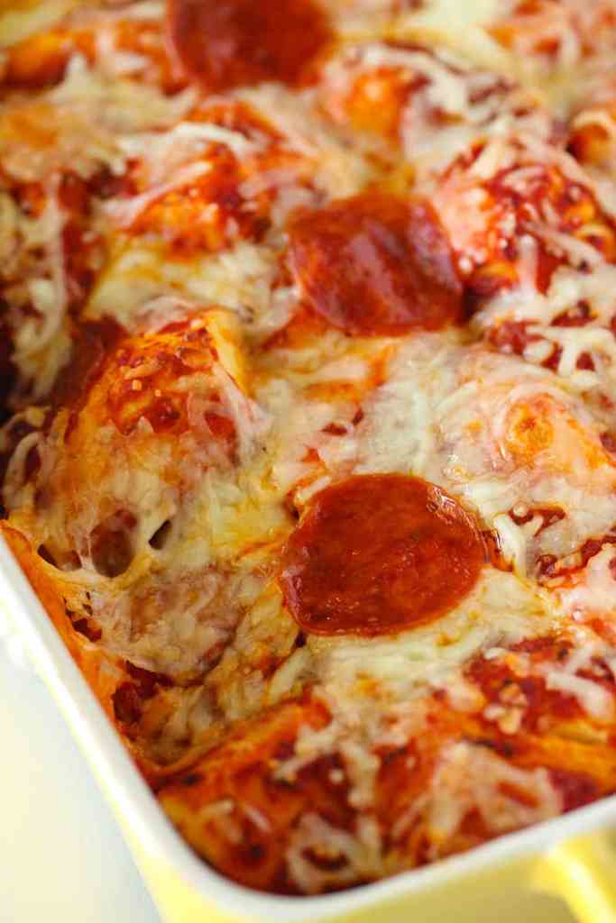 Close up picture of bubble pizza in a casserole dish
