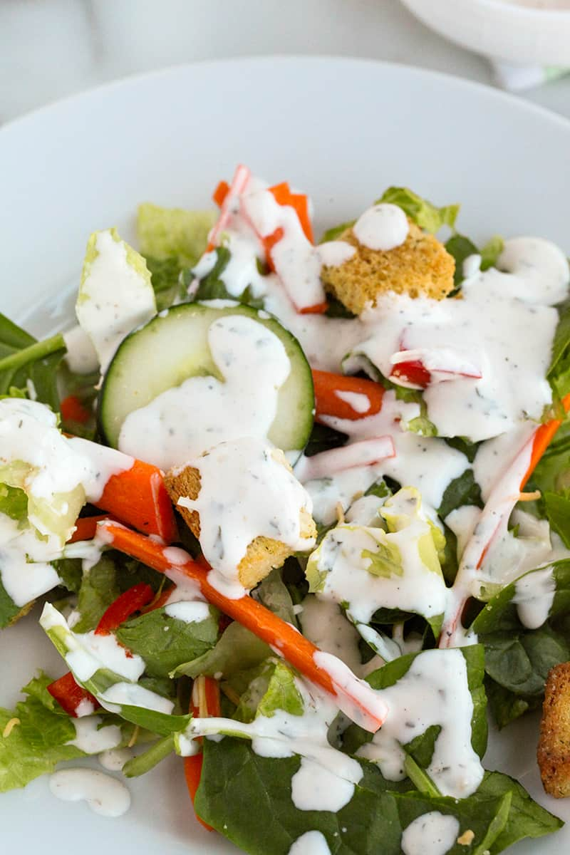 salad with ranch dressing on top