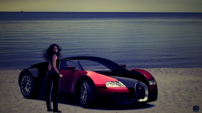 Wallpaper Woman with Car