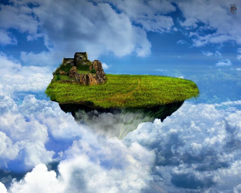 Flying Island - Fantasy Illustration