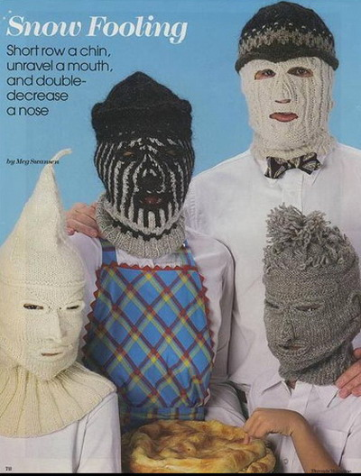Family wearing creepy full-face knitted ski masks.  Pattern: Snow Fooling by Meg Swanson