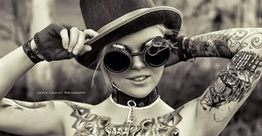 cute steampunk tattoo girl full body with black ink for man and woman