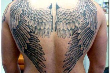 Black Color Ink Big Tattoo Design Of Angel Wings On Back For Boys
