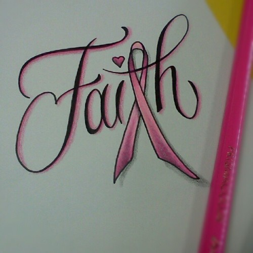 Nice Black And Red Color Ink Faith Breast Cancer Tattoo For Boys