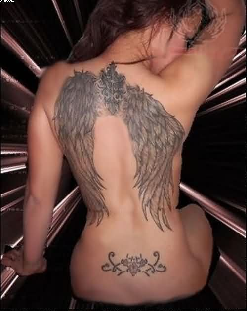 Stunning Grey Color Ink Back Tattoo Designs Of Angel Wings For Girls On Back Side
