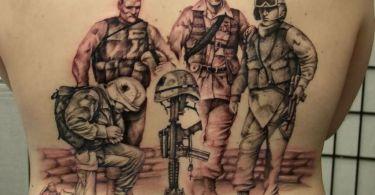 Terrific Black Color Ink Army  Men Tattoo Design On Back For Boys