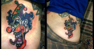 Traditional Blue Green Red And Black Color Ink  Clown Tattoo On Waist For Girls