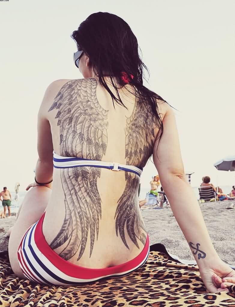 gorgeous Sexy Angel Wings Of Bird Tattoos For Women