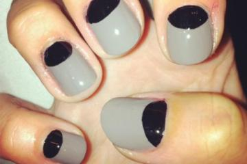 Best Black Half Moon Nail With grey Nails