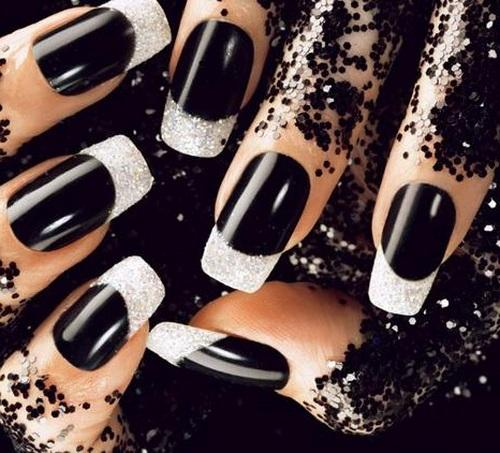 Most Phenomenal White And Black Nail Art With Sparkling Paint