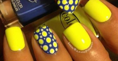 Sensational Polka Design Yellow Blue Nails