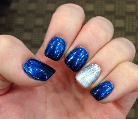 Nail Art Designs In Blue And Silver