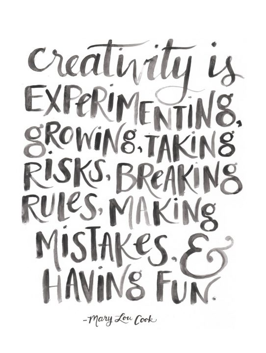 creativity is experinmenting growing, taking risks, breaking rules, making mistakes,having fun.