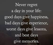 Amazing Quotes never regret a day in your life; good days give happiness.