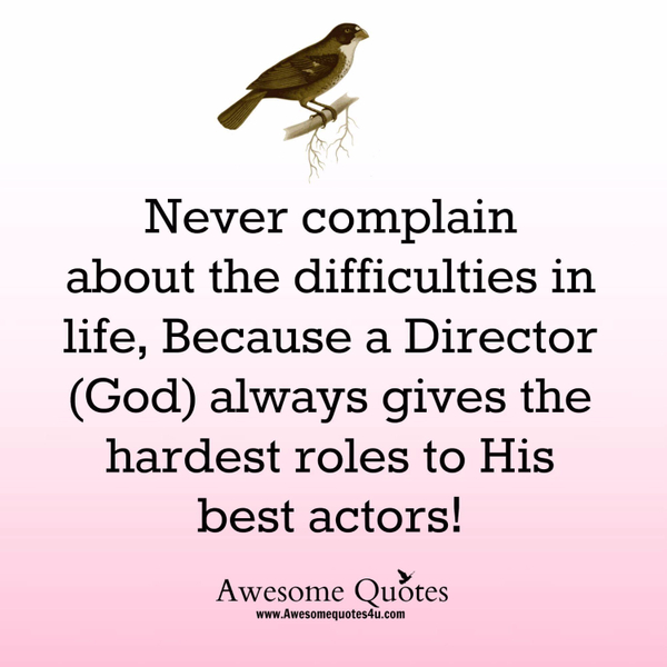 Awesome Quotes never complain about the difficulties in life, because a director