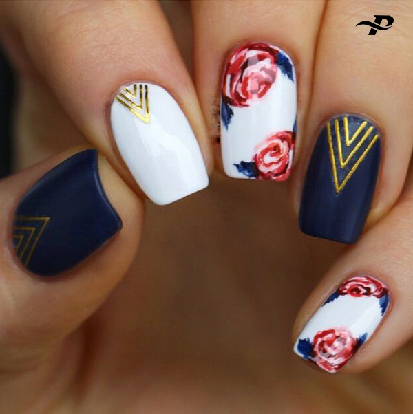 There are five lovely Designs on Five Fingers. Three of them are white, and there are floral designs in white. The rest are dark blue, with triangular designs.