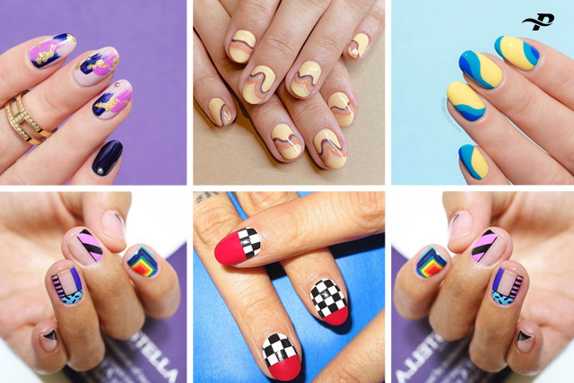 This is a collection of six cute images. Which have many fingers. And they have different colors and designs on them.