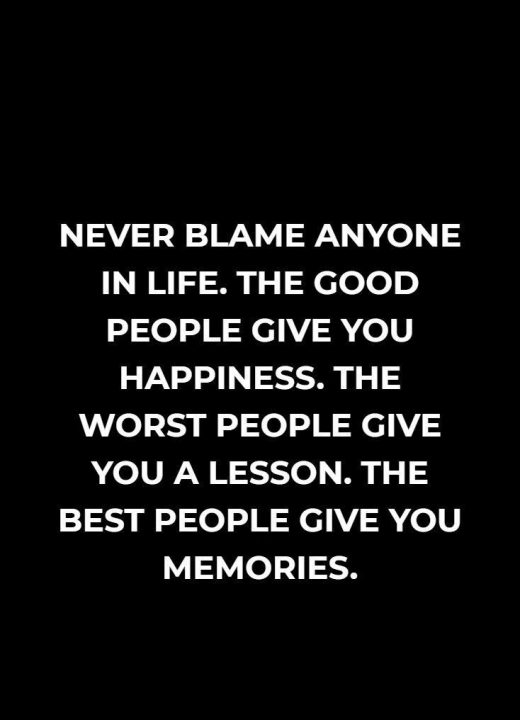 Lesson Quotes never blame anyone in life. the good people give you happiness. the
