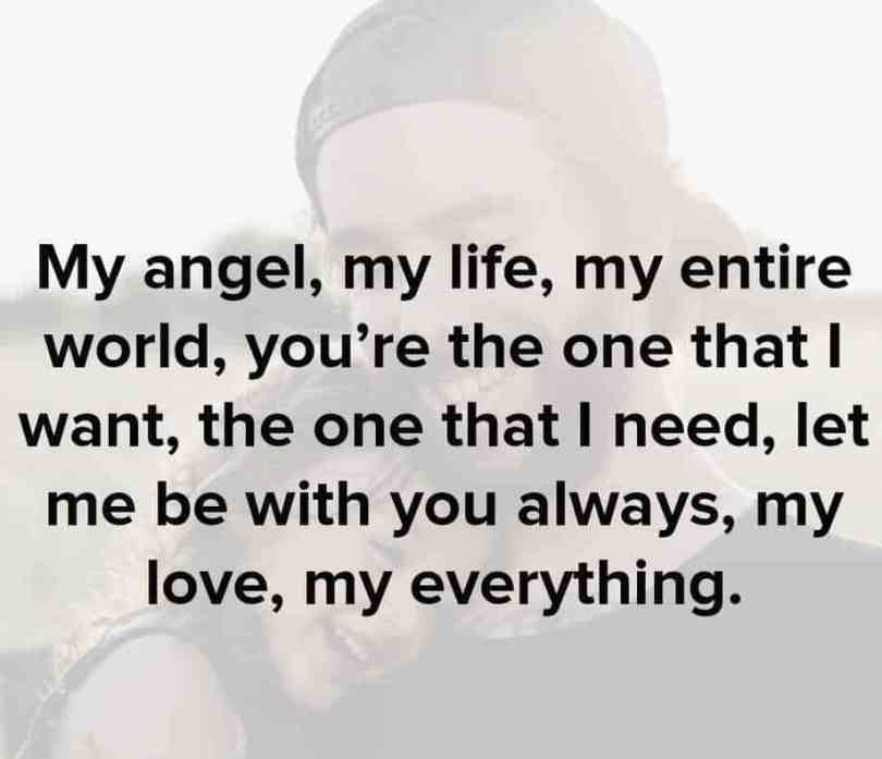 Love Quotes For Him my angel, my life, my entire world