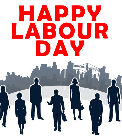 Happy Labour Day With Red Font