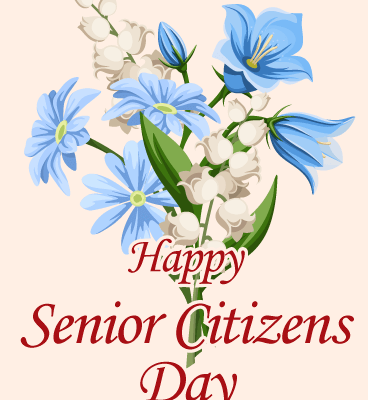 Happy Senior Citizens Day With Blue Flowers