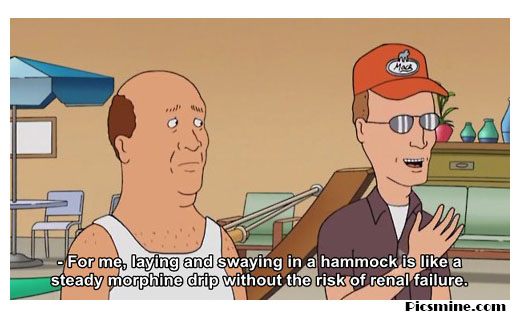 hank hill quotes for me, laying and swaying in a hammock is like a steady morphine drip without the risk of renal failure.
