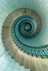 Looking Up The Spiral Staircase Of The Lighthouse ...