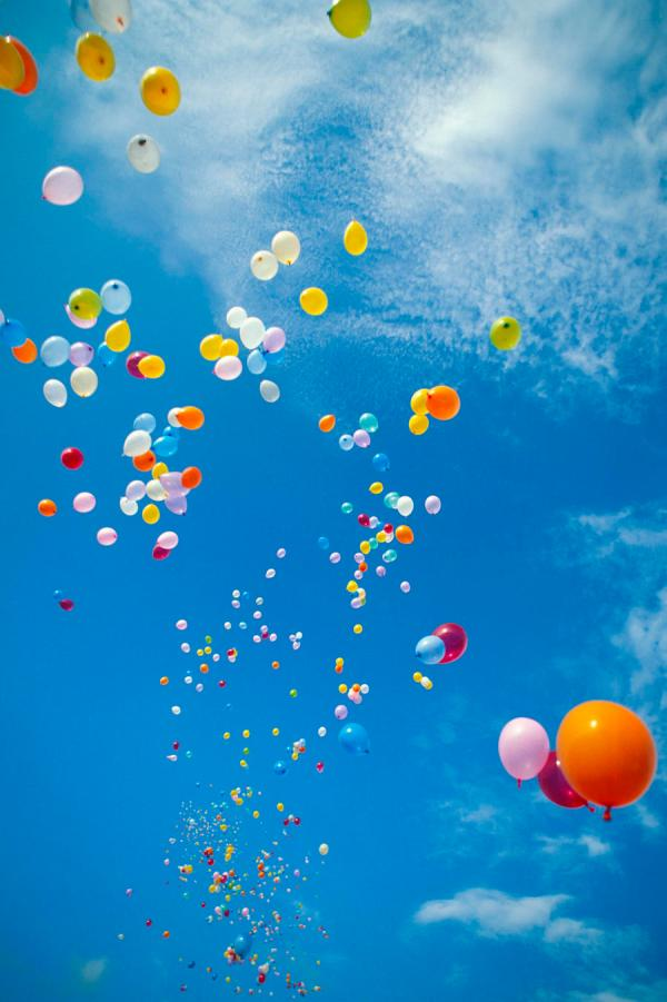Floating Balloons in Sky